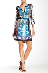 Glam Split V Neck Printed Dress White
