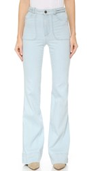 Alice Olivia Juno Wide Leg Jeans With Braided Waist Bleached Indigo