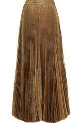 Alice Olivia Katz Pleated Metallic Silk Blend Maxi Skirt Gold