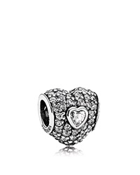 Pandora Design Pandora Charm Sterling Silver And Cubic Zirconia In My Heart Moments Collection Silver Clear