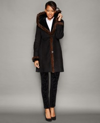 The Fur Vault Mink Fur Trim Hooded Shearling Lamb Coat Ebony Brown
