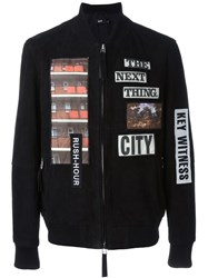 Blood Brother Patch Detail Bomber Jacket Black