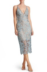 Dress The Population Women's 'Marie' Lace Midi Mineral Blue