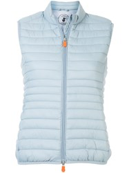 Save The Duck Giga High Neck Quilted Gilet Blue