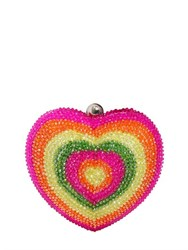 Manish Arora Rhinestone Embellished Heart Clutch