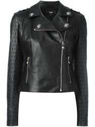 Versus Perforated Detailing Biker Jacket Black