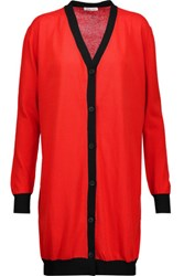Tomas Maier Asymmetric Two Tone Cotton Cardigan Red