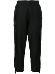 Philipp Plein Fringed Trim Track Pants Black