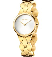 Calvin Klein K6e23546 Snake Yellow Gold Plated Stainless Steel Bracelet Watch Silver