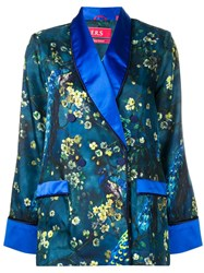 F.R.S For Restless Sleepers Blossom Print Satin Shirt Blue