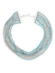 Abs By Allen Schwartz Jewelry Pop Of Color Multi Strand Necklace Silver Turquoise