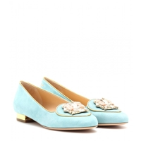 Charlotte Olympia Gemini Suede Slipper Style Loafers Aqua