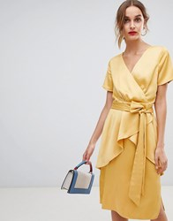 Lost Ink Midi Dress With Tie Waist In Satin Yellow