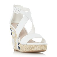 Dune Kesha Flower Raffia Wedge Sandals White