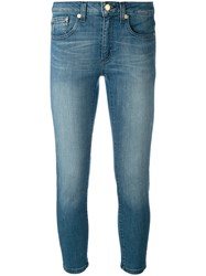 Michael Michael Kors Stonewashed Cropped Jeans Women Cotton Spandex Elastane Xs Blue