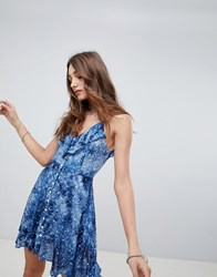 Kiss The Sky Button Up Cami Dress In Galaxy Print Blue