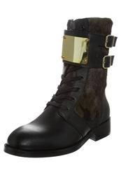 Supertrash Melody Laceup Boots Black Camo Green