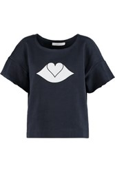 See By Chloe Appliqued Cotton Fleece Top Midnight Blue