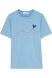 Chinti And Parker Woman Printed Cotton Jersey T Shirt Sky Blue
