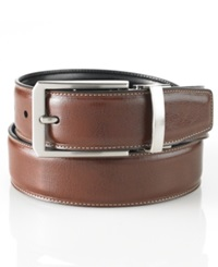 Perry Ellis Big And Tall Reversible Plaque Buckle Belt Luggage Black