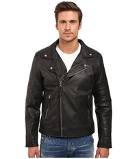Members Only Genuine Leather Lamb Milano Modern Motor Jacket Black Men's Coat