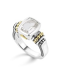 Lagos 18K Yellow Gold And Sterling Silver Caviar Color Ring With White Topaz White Silver