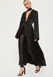Missguided Black Crushed Satin Waist Detail Duster Coat