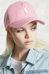 Forever 21 Bunny Tail Dad Cap Pink White