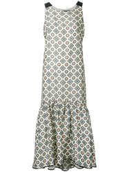 Muller Of Yoshiokubo Tile Print Midi Dress Women Silk Linen Flax Polyester Rayon 36 White