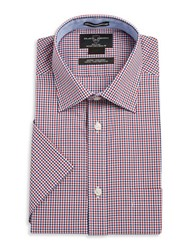 Black Brown Gingham Button Front Shirt Red