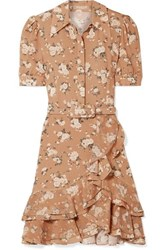 Michael Kors Collection Belted Ruffled Floral Print Silk Georgette Mini Dress Tan