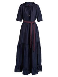 Albus Lumen Lola Gathered Neck Silk Maxi Dress Navy