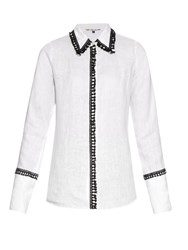 Jupe By Jackie Hempel Fringed Trim Linen Shirt White