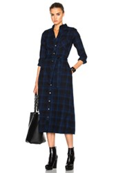 Engineered Garments Plaid Flannel Bd Shirt Dress In Blue Checkered And Plaid Blue Checkered And Plaid