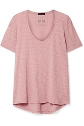 Atm Anthony Thomas Melillo Boyfriend Slub Cotton Jersey T Shirt Pink