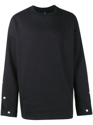 Odeur Button Sleeve Sweatshirt Black