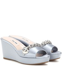 Miu Miu Satin Wedge Sandals With Crystal Embellishments Blue