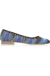 M Missoni Leather And Metallic Crochet Knit Point Toe Flats