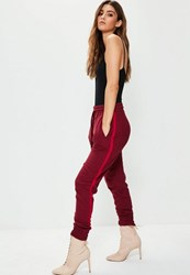 Missguided Red Binding Striped Tracksuit Joggers Burgundy