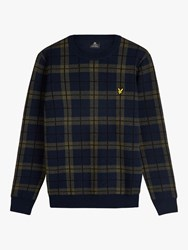 Lyle And Scott Check Lambswool Blend Knitted Jumper Dark Navy Olive