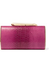 Kotur Bailey Croc Effect Leather Clutch Pink