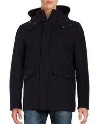Cole Haan Faux Fur Lined Water Repellent Wool Jacket Navy