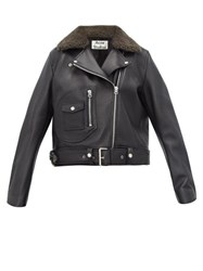 Acne Studios Merlyn Shearling Collar Leather Biker Jacket Black