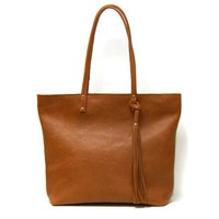 Angela Valentine Handbags Leather Tote Bag In Blacksaddle Tan