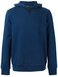 T By Alexander Wang Leather Detail Hoodie Blue