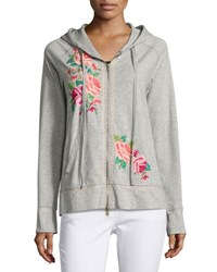 Johnny Was Floral Embroidered Raglan Zip Hoodie Gray