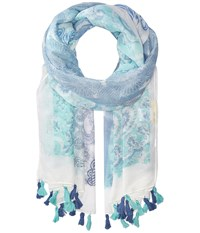 San Diego Hat Company Bss1723 Woven Blue All Over Print With Tassels Indigo Scarves