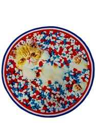Seletti Cat And Pills Round Rug Multicolor