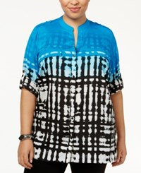 Calvin Klein Plus Size Printed Utility Shirt Black Adriatic Blue