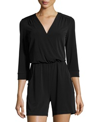 Neiman Marcus 3 4 Sleeve Surplice Front Stretch Romper Black
